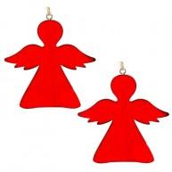 Fa karácsonyfadísz 2db piros angyal 4424B