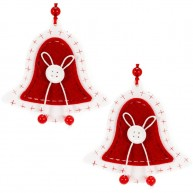 Fa karácsonyfadísz 2db harang filc díszítéssel 4425D