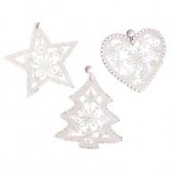 Fa karácsonyfadísz 3db-os szett fehér csillag-fenyő-szív 4422