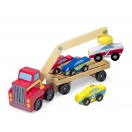 Melissa & Doug játék autószállító kamion mágneses daruval 9390