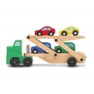 Melissa & Doug játék autószállító kamion fából autókkal 4096