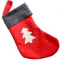 Mikulás csizma filcből ajándékoknak piros karácsonyfás