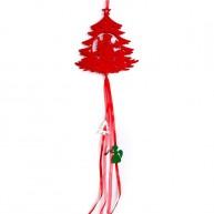 Karácsonyi ablakdísz filcből - piros karácsonyfa dekoráció 4436B