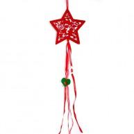 Karácsonyi ablakdísz filcből - piros csillag dekoráció 4436D