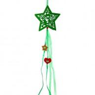 Karácsonyi ablakdísz filcből - zöld csillag dekoráció 4436F