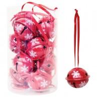 Karácsonyfadísz dekorációs száncsengő 12 db piros 4cm
