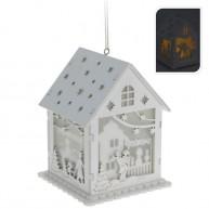 IMP-EX  Fehér, világítós fa házikó- Egy család pillanatai 4052-A
