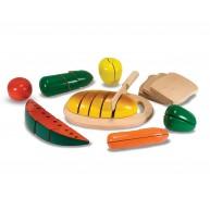Melissa & Doug fa szeletelhető tépőzáras játék élelmiszerek 10487