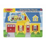 Melissa & Doug Puzzle hangot adó formákkal - A ház körül 10734