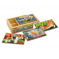 Melissa & Doug háziállatos fa puzzle dobozban 4 fajta 12db-os 3790