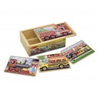 Melissa & Doug járműves fa puzzle dobozban 4 fajta 12db-os 3794