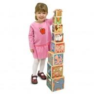 Melissa & Doug fa toronyépítő játék - állatos 14207