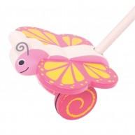 BIGJIGS tologatós fajáték - rózsaszín pillangó BJ141