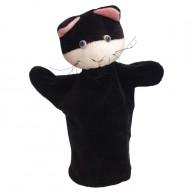 Puppet World 3 ujjas plüss fekete cica báb 1386