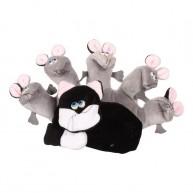 Kesztűbáb felnőtt kézre cica egerekkel 2594