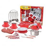 Játék edények, tálalóeszközök és szakácsfelszerelés piros 4638
