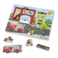 Melissa & Doug Puzzle hangot adó formákkal - Tűzoltó állomás 736