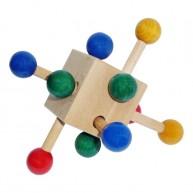 Fa ügyességi kocka babáknak natúr 0310C