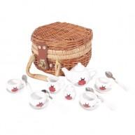 IMP-EX porcelán játék katicás teáskészlet fonott kosárban 17db-os 4713