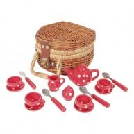 Porcelán piros játék teáskészlet fonott kosárban 4714