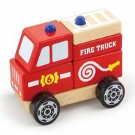 VIGA játék tűzoltóautó fából szétszedhető 4641