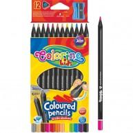 Colorino Kids háromszögű 12db-os fekete fa színes ceruzakészlet   55796PTR