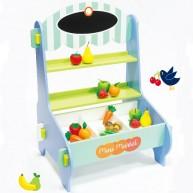 Mentari játék eladópult gyümölcsökkel fából 4678