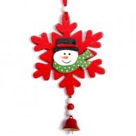 Fa karácsonyfadísz-hóember egy hópihén-piros 4427A