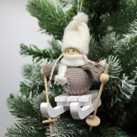 IMP-EX karácsonyfadísz kislány szánkón szürke pulóverben