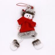 IMP-EX karácsonyfadísz hóember piros textil kabátban