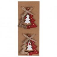 Karácsonyfadísz fából 2db fenyő piros-natúr