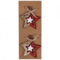 Karácsonyfadísz fából 2db csillag piros-natúr 456940