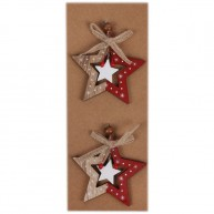 Karácsonyfadísz fából 2db csillag piros-natúr