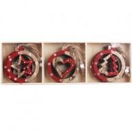 Fa karácsonyfadísz 3 féle 12db-os szett csillag-szív-fenyő