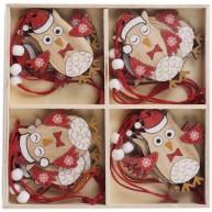 Fa karácsonyfadísz 12db-os szett bagyoly télapó sapkában