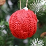 IMP-EX karácsonyfadísz kötött gömb dísz piros 6,5cm