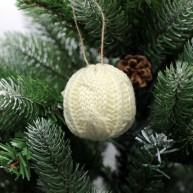 IMP-EX IMP-EX karácsonyfadísz kötött gömb dísz krém színű 6,5cm