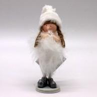 Karácsonyi dekoráció álló angyalka ezüst cipőben és sapkában 13,5 cm