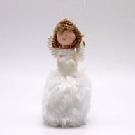 Karácsonyfadísz angyalka szörmis ruhában 15cm-es