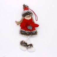 Karácsonyi piros ruhás kislány karácsonyfadísz dekoráció 456844