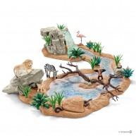Schleich  Wild Life vadállatos nagy szett vízeséssel és szafari állataival 42321