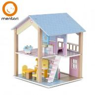 Mentari játék fa babaház emeletes 4 szobás fa játék bútorokkal 4677