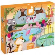 JANOD  Tapintós fa puzzle simítható darabokkal, állatkertes 2774