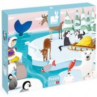 JANOD Tapintós fa puzzle simítható darabokkal, élet a jégen  2773