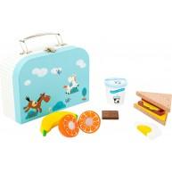 Legler fa szeletelhető játék ételek kofferben - Snack Szett 11196