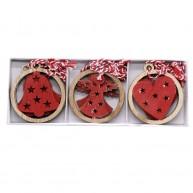 Fa karácsonyfadísz 3 féle 12db-os szett szív-harang-angyalka