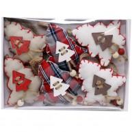 IMP-EX textil karácsonyfadísz fenyőfák 6db-os szett