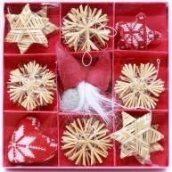 Karácsonyfadísz szett szalmából és filcből 2db manóval 24db-os