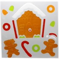 Karácsonyi ablakzselé dísz mézeskalács házikó XL