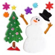 Karácsonyi ablakzselé dísz fenyőfa hóemberrel  312602